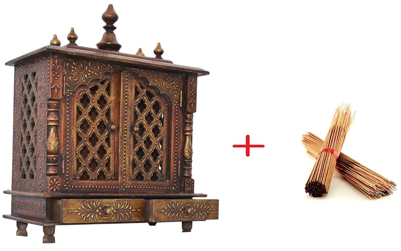 Amazon.com: Mereappne Wooden Hanging Pooja Mandir  Indian   Hindu ...