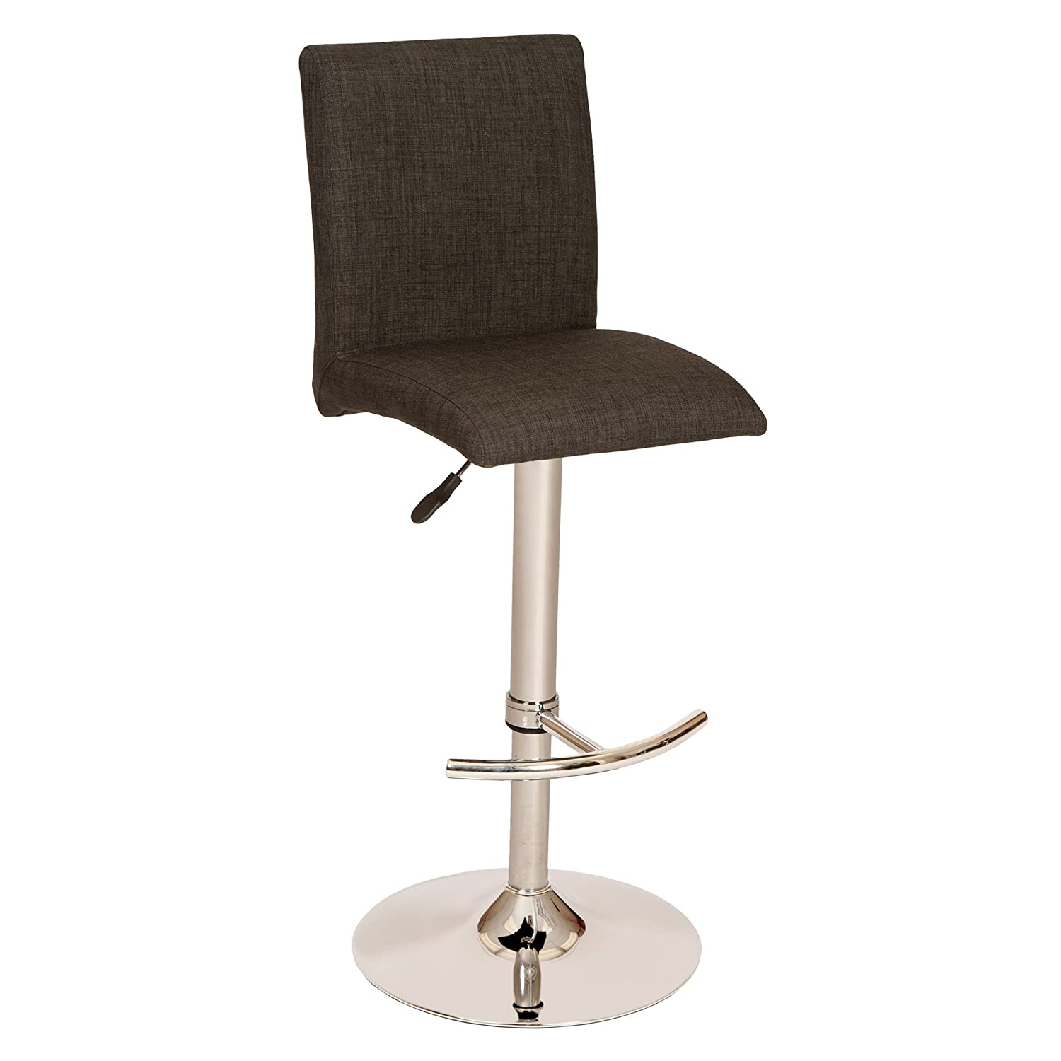Armen Living LCLBSWBACH La Jolla Swivel Adjustable Barstool in Charcoal Fabric and Chrome Finish