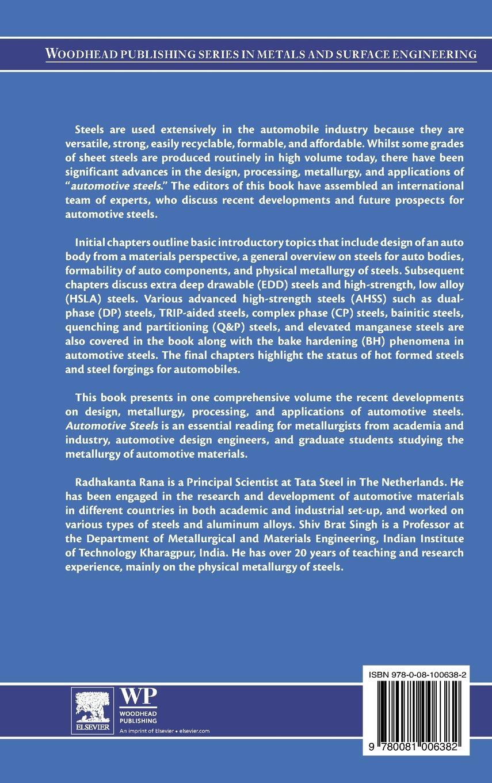 Automotive Steels Design Metallurgy Processing And Applications Rana Radhakanta Singh Shiv Brat 9780081006382 Books Amazon Ca