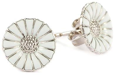 1623c3aa5 Georg Jensen Sterling Silver White Enamel Daisy Stud Earrings:  Amazon.co.uk: Jewellery