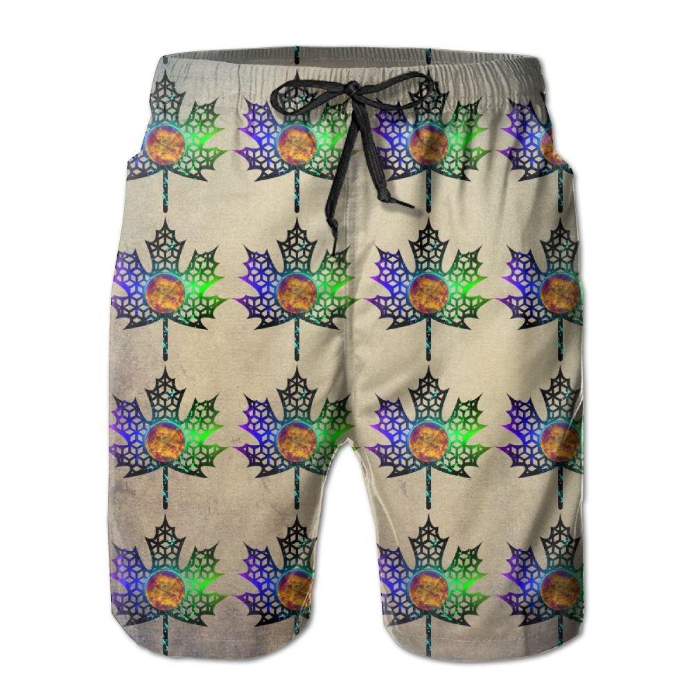 BaPaLa Mens Maple Leaf Beach Shorts Comfortable Boardshort
