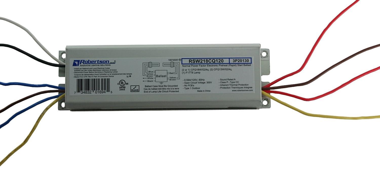 Robertson 3p20130 Individual Fluorescent Eballast 2 Ballast Wiring Diagram Cfq18w G24q Cfl Lamp Preheat Rapid Start 120vac 50 60hz Normal Factor Npf