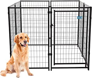 """JAXPETY 47""""H Large Dog Pens 8-Piece Pet Playpen Outdoor & Indoor, Heavy-Duty Metal Fence Puppy Play Crates Dog Kennels Enclosure, Black"""