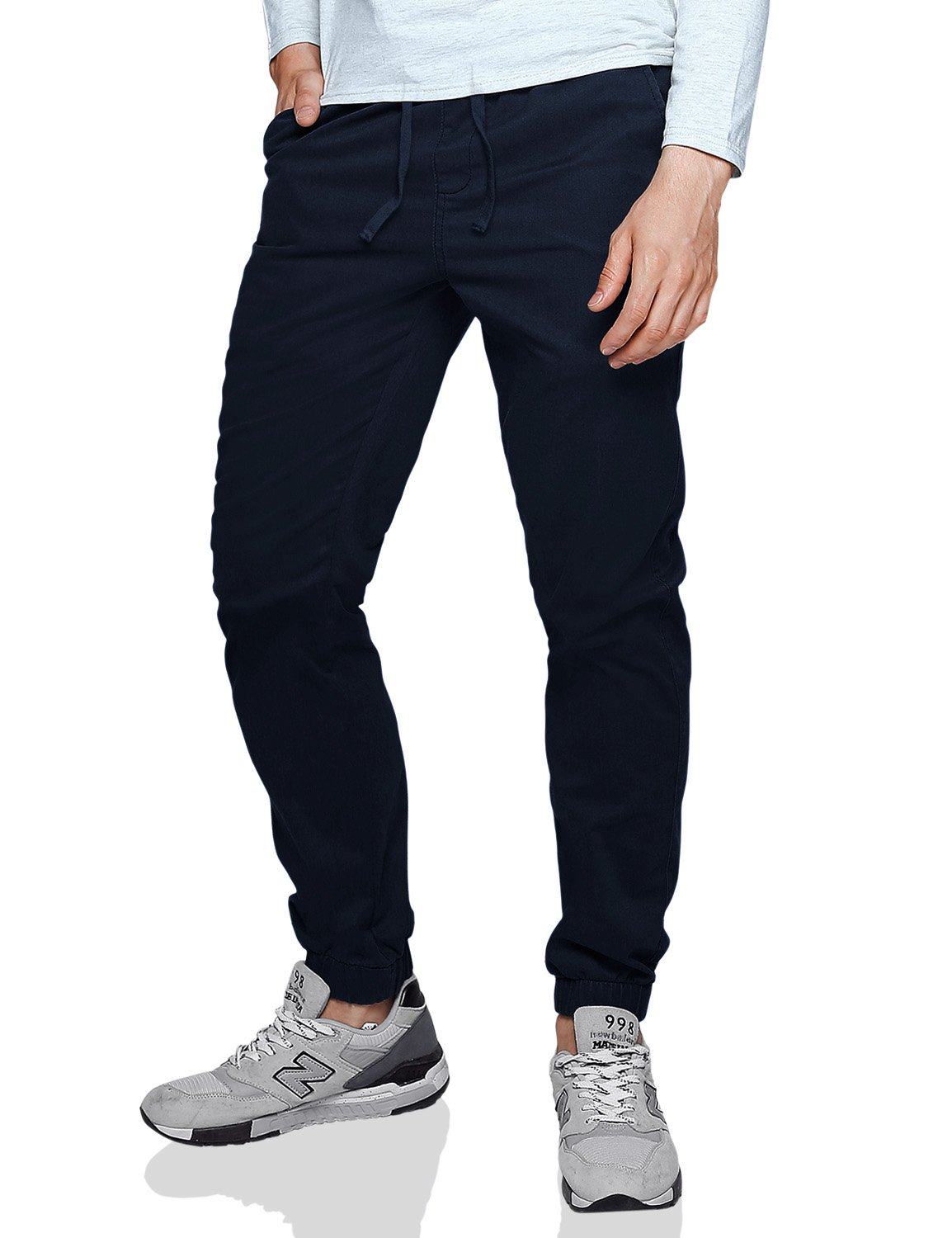 Match Men's Loose Fit Chino Washed Jogger Pant (38W x 32L, 6535 Blue)