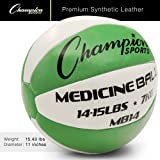 Champion Sports MB14 Exercise Medicine Balls, 14-15 lbs, Leather with No-Slip Grip for Weight Training, Stability, Plyometrics, Cross Training, Core Strength