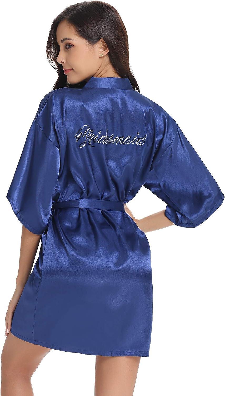 Vlazom Hochzeits Morgenmantel Satin Kimono Robe Kurz Braut Nachtw/äsche Sleepwear V Ausschnitt mit G/ürtel f/ür Braut Brautjungfern Hochzeit Party