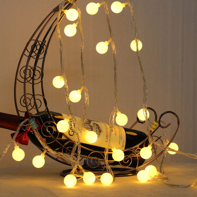 Guirlande lumineuse LED /à Piles Petites Boules Blanc Chaud D/écoration Romantique pour F/ête No/ël Halloween Mariage Anniversaire Soir/ée D/écor Chambre Terrasse Guirlande Lumineuse 10M 80 Ampoules