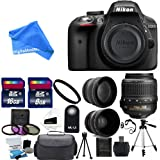 Nikon D3300 24.2 MP CMOS Digital SLR Camera with 18-55mm f/3.5-5.6G VR II Zoom Lens + 2x Professional Lens + HD Wide Angle Lens + UV Filter Kit with 24GB Deluxe DigitalAndMore Accessory Bundle