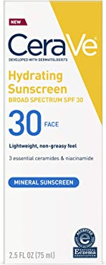 Cerave 100% Mineral Sunscreen SPF 30 | Face Sunscreen with Zinc