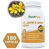 Best St. John's Wort 1000mg 180 Capsules (Non-GMO) Powerful 900mcg Hypericin Saint Johns Wort Extract for Mood, Anxiety & Depression Support (500mg per Capsule) - 100% Money Back Guarantee