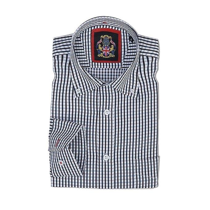 Camisa de manga larga para Hombres, Modelo Winchester a cuadros, cuello con botones. Se lleva con una corbata en un estilo formal o relajado - Janeo British ...