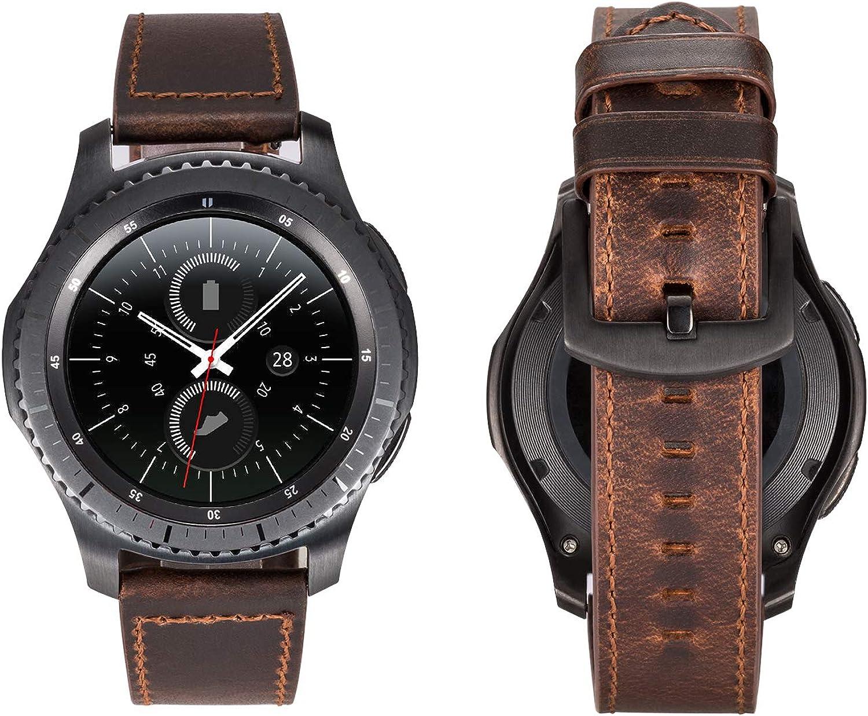 Gear S3 Band, Correa de Cuero Directa de 22 mm para Hombre y Mujer. Reloj Italiano con Correa de Reloj.