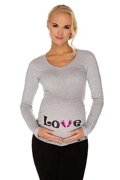 Premaman Grigia Maglietta Love My Piedini Tummy Abbigliamento yIY6vf7gbm