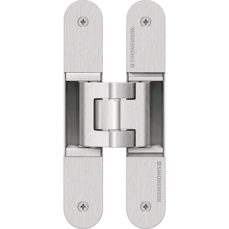 Simonswerk - Paumelle invisible pour porte d'interieure et porte lourde tectus-te 340 3d capacite 80 kg - Finition.Argent - 5 400605 0 12402