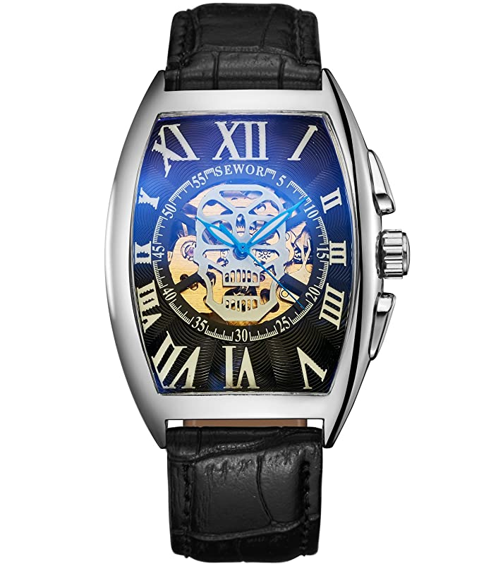 Amazon.com: SEWOR Mens Automatic Business Dress Tonneau Skull Skeleton Wrist Watch Mechanical Self Wind (Black): Watches