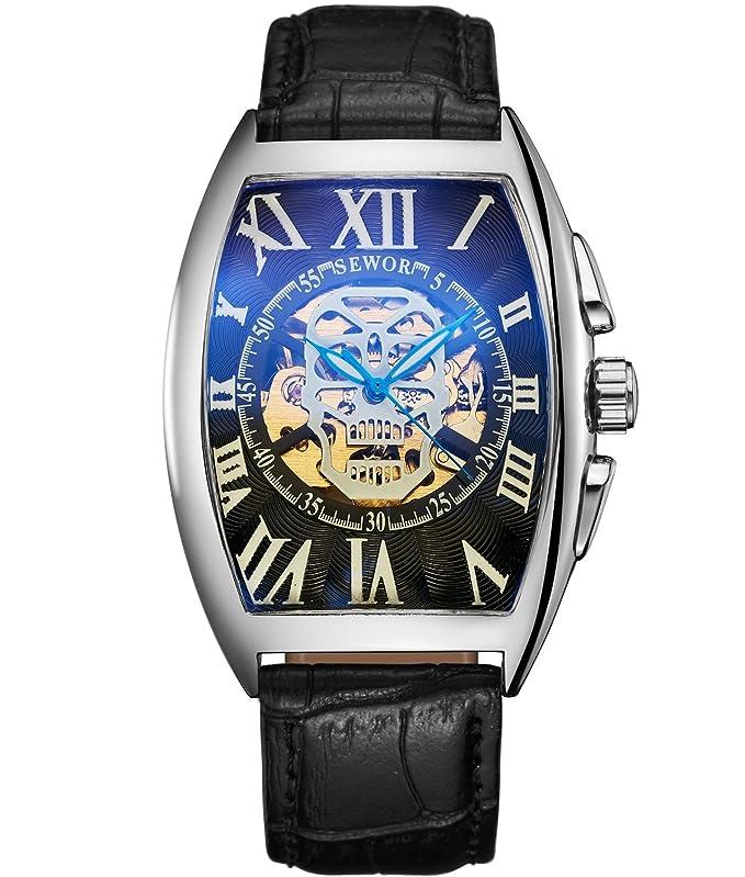 Amazon.com: SEWOR Mens Automatic Business Dress Tonneau Skull Skeleton Wrist Watch Mechanical Self Wind (Black): Watches