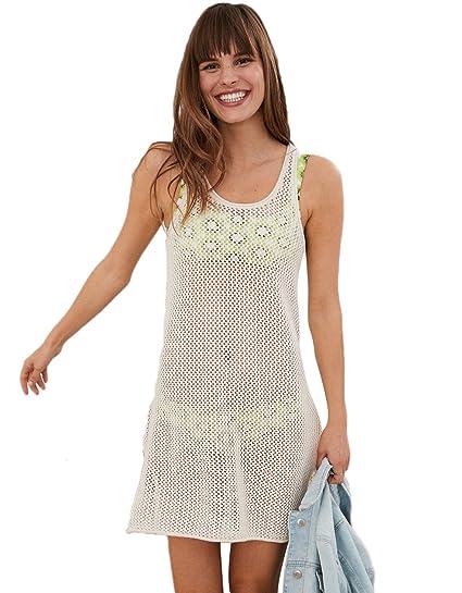 f58b14b39f9fc NFASHIONSO Women s Crochet Swimsuit Cover Up Beach Dress Beige at ...