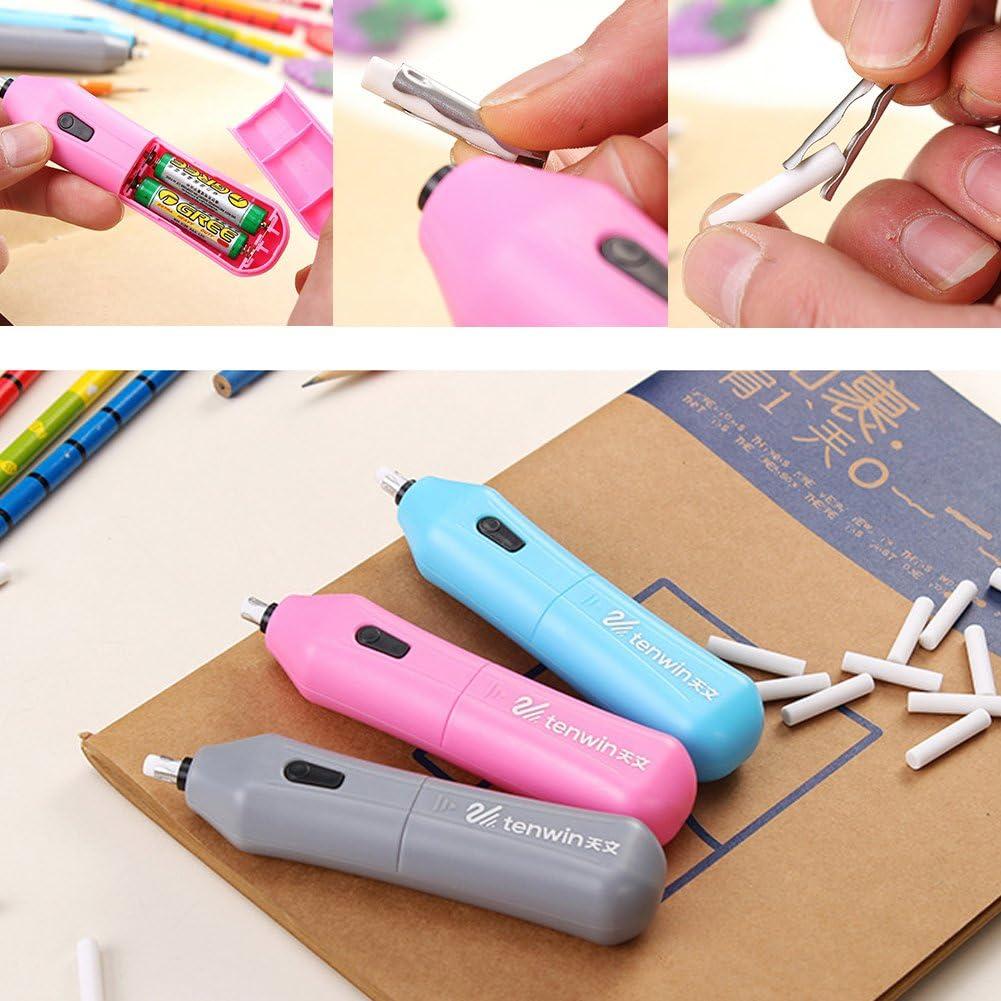 Rosa a batteria 4.99 x 1.09 x 0.9 con 10 ricariche 125mm x 28mm x 23mm Manyo gomma da cancellare automatica Kit di gomma elettrica