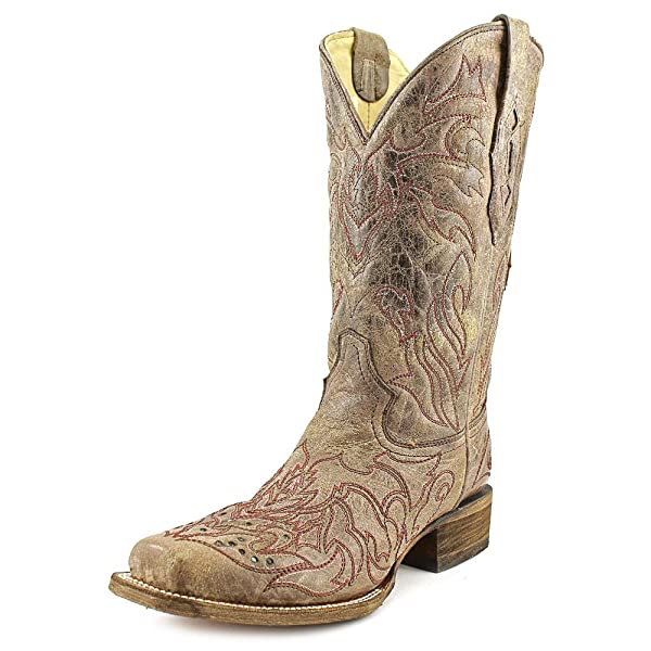 23fb2b48cb51 Amazon.com | Corral Women's A2837 Back Cross And Crystals Brown ...