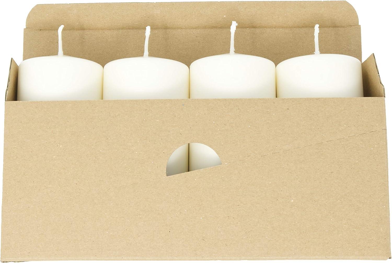 Coraz Home Lot de 4 bougies piliers non parfum/ées en cire naturelle sans paraffine 60 mm x 130 mm