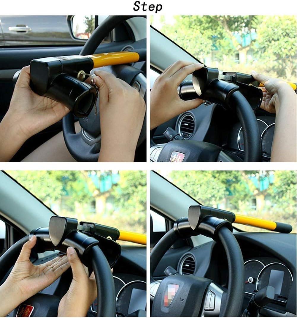 Yellow eoocvt Universal Security Anti Theft Retractable Heavy Duty Car Steering Wheel Lock with 2 Keys