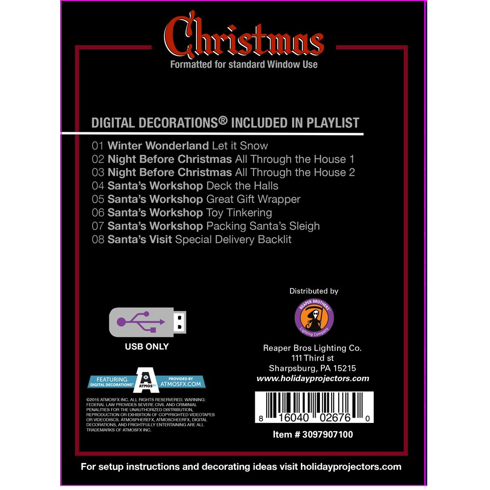 amazoncom atmosfearfx christmas digital decorations kit on usb stick includes atmosfx 4 ft x 6 ft projection screen atmoscheerfx christmas playlist - Christmas Digital Decorations
