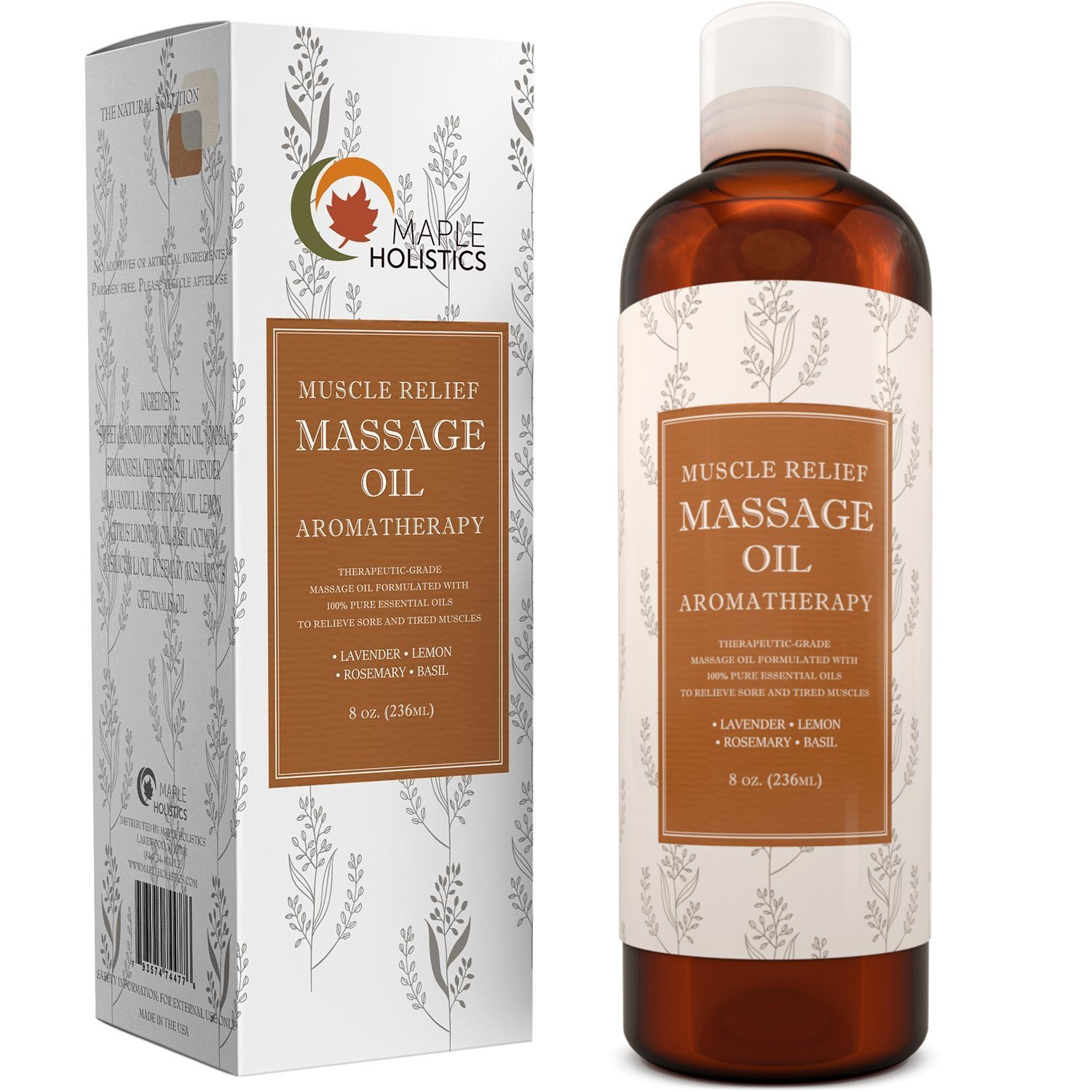 Muscle Pain Massage Oil - Muscle and Joint Pain Relief - Anti Cellulite Massage Oil for Men and Women - Aromatherapy Essential Oils for Healing - Deep Tissue Massage Lotion - Natural Anti Aging Oil …