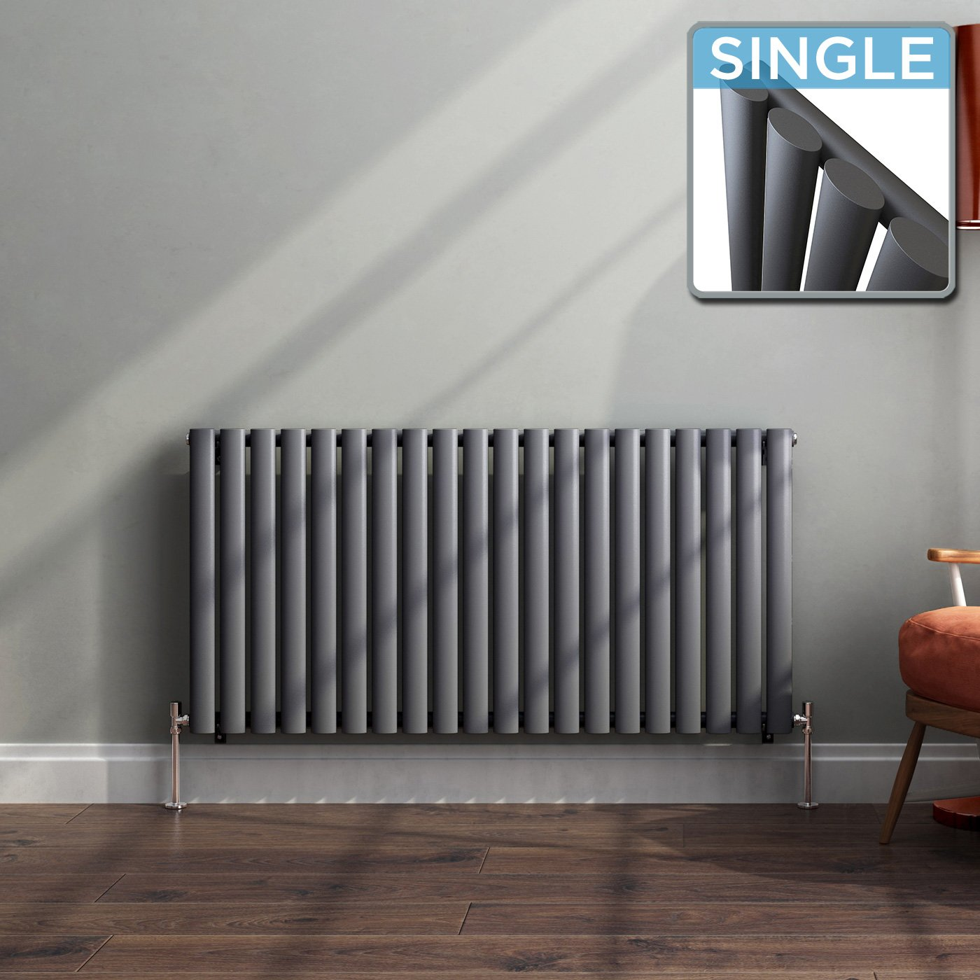 iBathUK 600 x 420 mm Modern Horizontal Column Radiator Anthracite Oval Single Panel