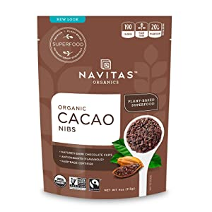 Navitas Organics Raw Cacao Nibs, 4 oz. Bag, 4 Servings — Organic, Non-GMO, Fair Trade, Gluten-Free