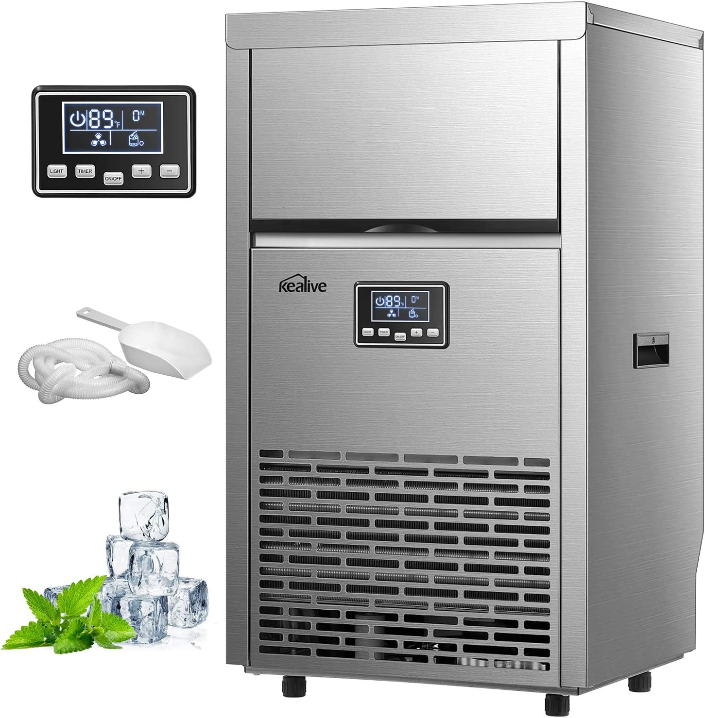 Kealive Commercial Ice Maker 99lbs in 24h with 33lbs Storage Capacity Freestanding Stainless SteelIce Cube Machine, Auto Clean with Scoop and Connection Hoses for Shop Bars Home Supermarket, Sliver