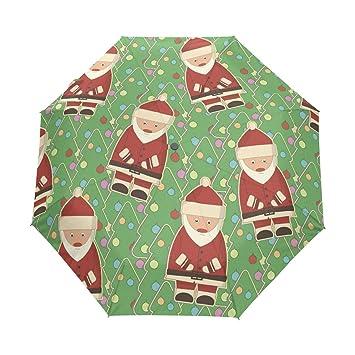 auto open close umbrella christmas tree santa claus windproof compact folding travel umbrellas - Umbrella Christmas Tree