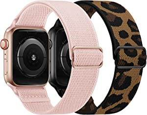 OUHENG 2 Pack Stretchy Band Compatible with Apple Watch Bands 40mm 38mm 44mm 42mm, Elastic Braided Nylon Sport Stretch Solo Loop Strap for iWatch SE Series 6/5/4/3/2/1, 40mm 38mm