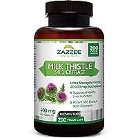 Zazzee Organic Milk Thistle Extract 20,000 mg Strength, 200 Vegan Capsules, Potent...