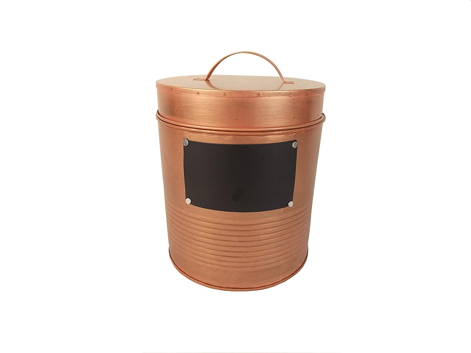 Craft Outlet 7-Inch X 7-Inch X 9-Inch Copper Tin Container with Lid and Chalk Board Craft Outlet Inc T1355