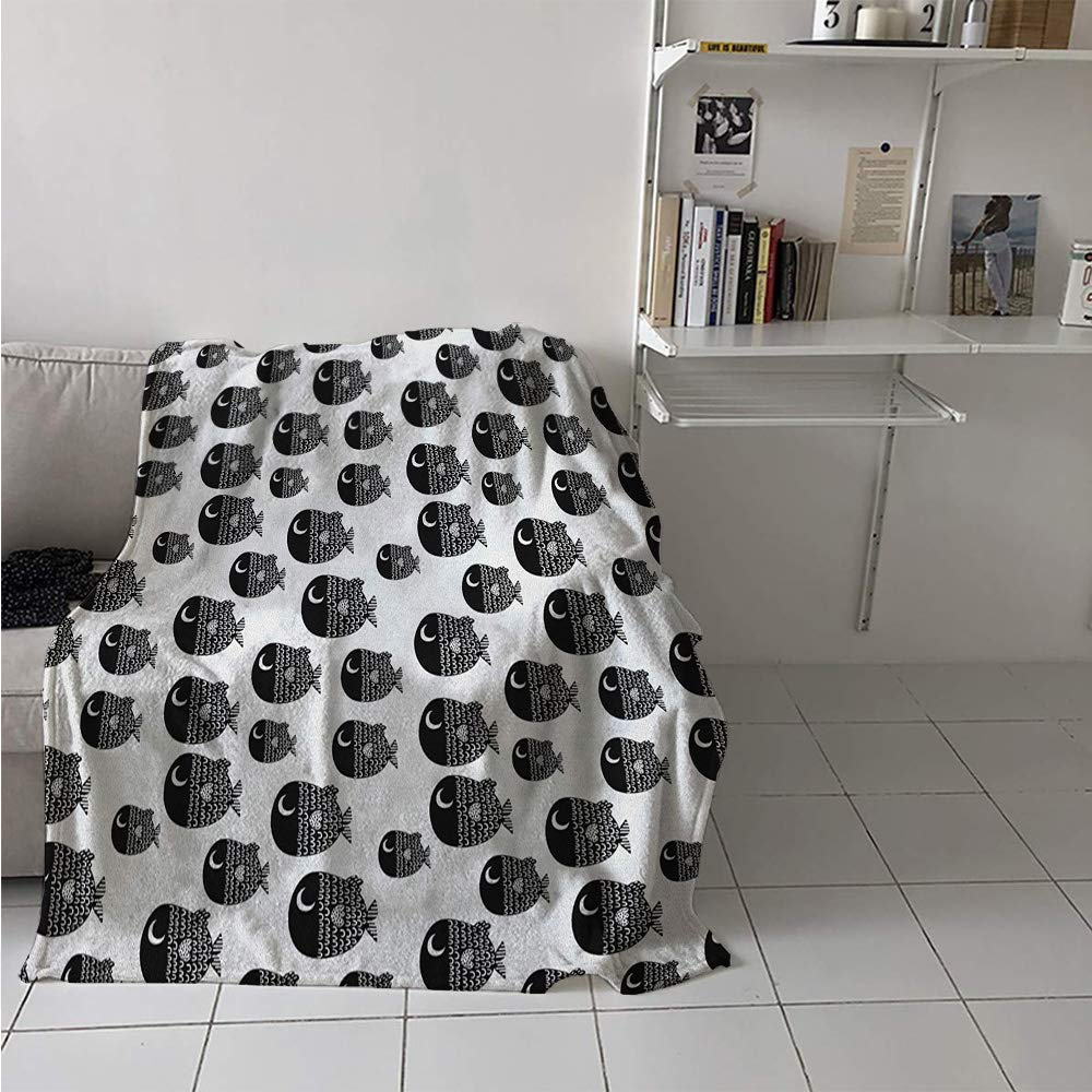 Throw Blanket Extra Large, Cute Ornamental Fishes Marine Scandinavian Childish Baby Playroom Kids Caricature, Weave Pattern Extra Long Blanket 90x70 Inch Black White