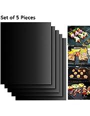 EXTSUD BBQ Grillmatten, 5er Set BBQ Antihaft Grill-und Backmatte Wiederverwendbar PFOA-Frei – Toll über Kohle, Gas und Weber Style Grills – Perfekt für Fleisch, Fisch und Gemüse 40x33 cm