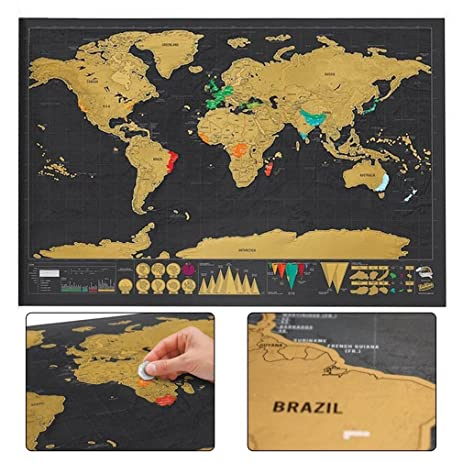 Amazon christmas new year valentines gift world map christmasnew yearvalentines giftworld map interactive travel scratch map black gumiabroncs Choice Image