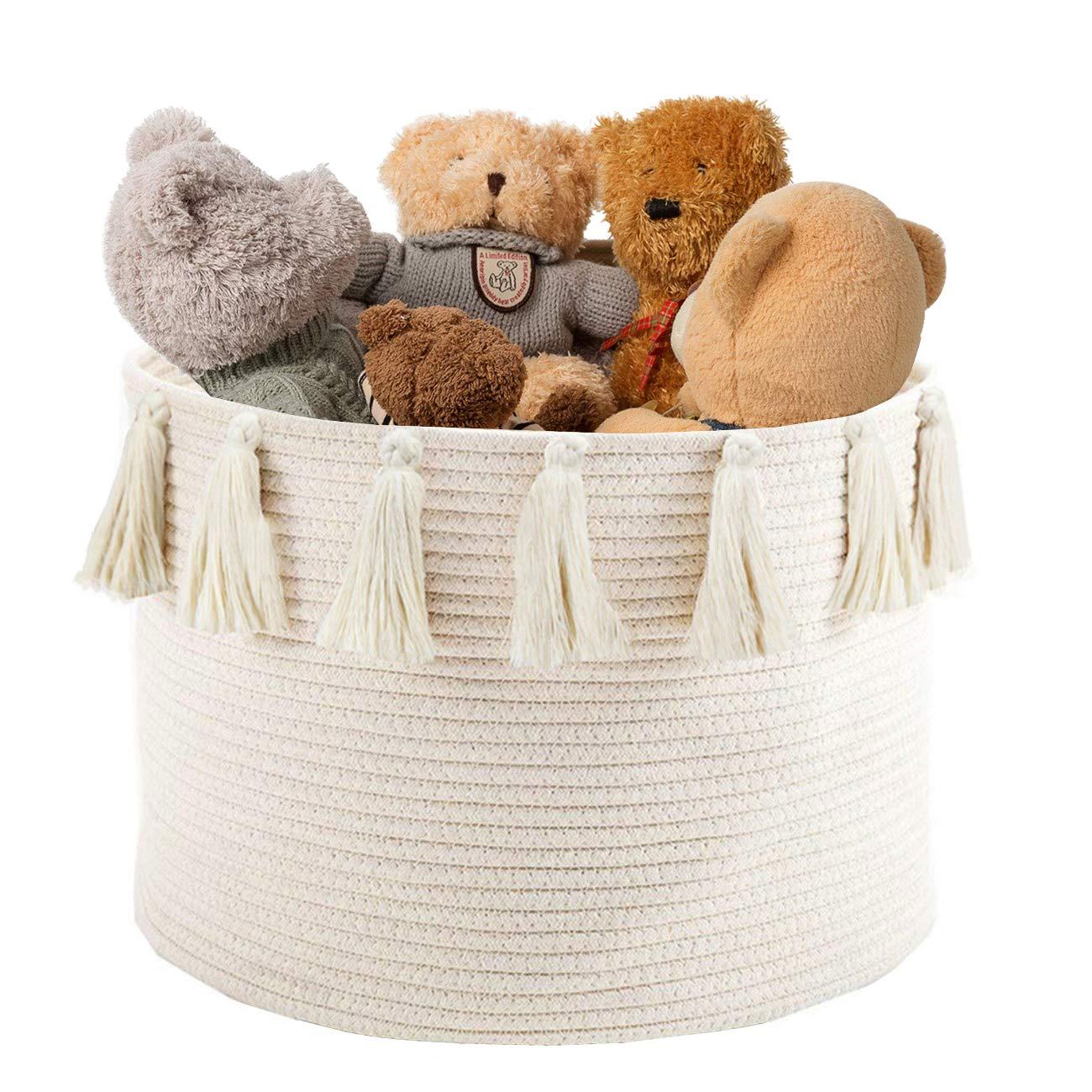 "Abetree Large Tassel Woven Basket Storage with Handle Cotton Laundry Hamper Nursery Basket Blanket Baby Toy Storage Organizer 17.7"" x 11.8"""