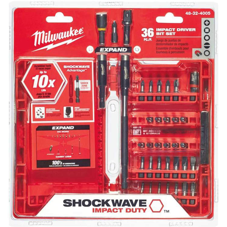 Milwaukee SHOCKWAVE153; 36-Piece Impact Driver Bit Set, 48 ...