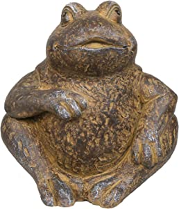 Alpine Corporation WGG426HH Alpine Made of Rustic Stone Frog Statue, Brown