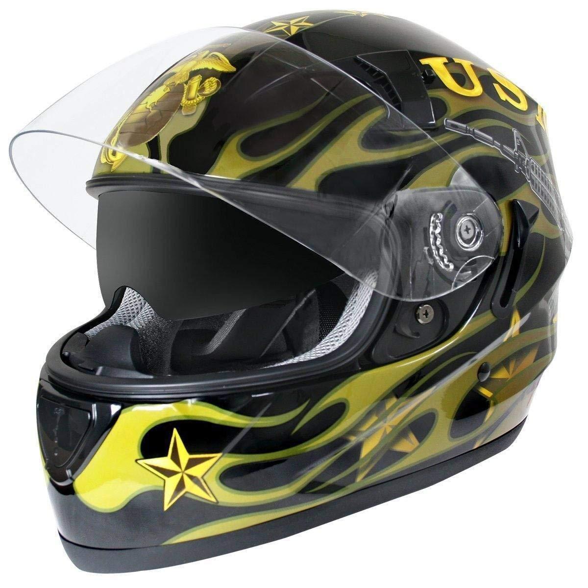 ec1b68cd Hawk ST-1150 Glossy Dual Visor Full Face Motorcycle Helmet with U.S.  Marines Gr - Medium