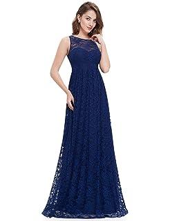8069a839621 Ever Pretty Damen Elegant Rundhals Lang Geblümt Lace V-Ausschnitt ...