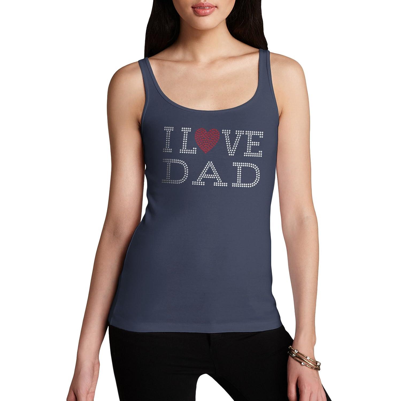 Twisted Envy I Love Dad Rhinestone Diamante Women's Tank Top