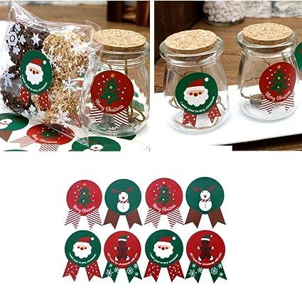 Amazon Com Sinwo 96 Pcs Christmas Label Stickers Baking Cookie