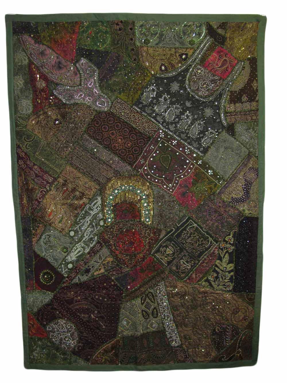 Indian Kantha Zari Handmade Vintage Tribal Rajasthani Patchwork Royal Wall Hanging Art Beaded Tapestry (Green and Brown Tones)