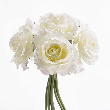 Bouquet De Roses Blanches Artificielles