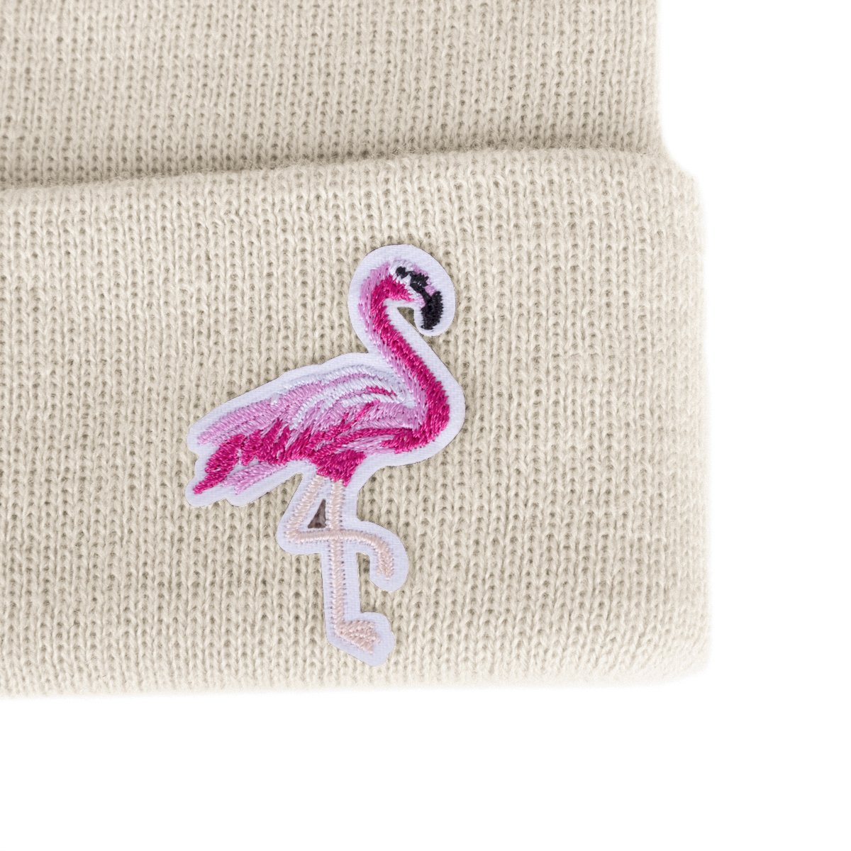 Flowomen Women Flamingo Knitted Beanie Fashion Cuffed Plain Winter Hat (Beige)…