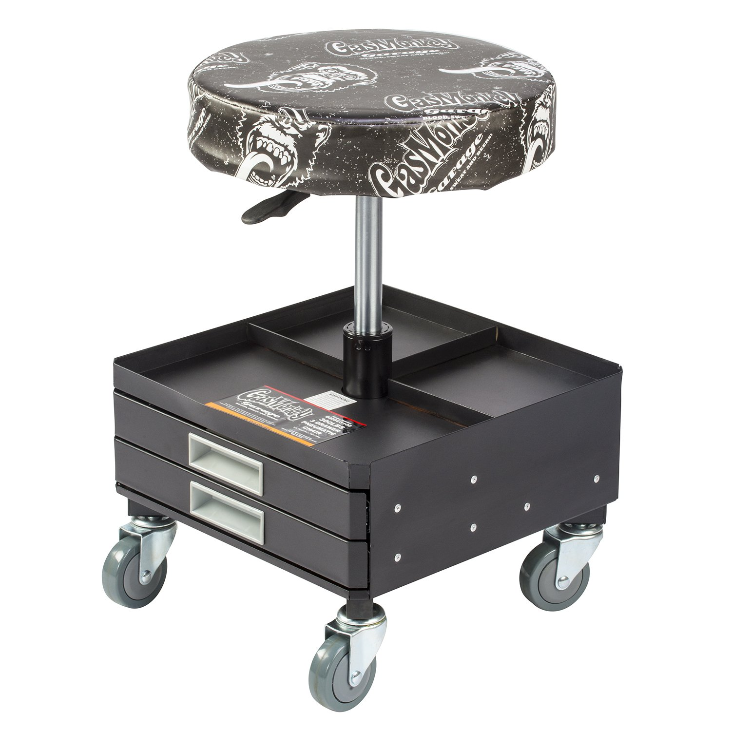 Gas Monkey Pneumatic Garage Chair With Tool Tray   5 Rolling Casters With  300 Lbs Capacity GMGC3001