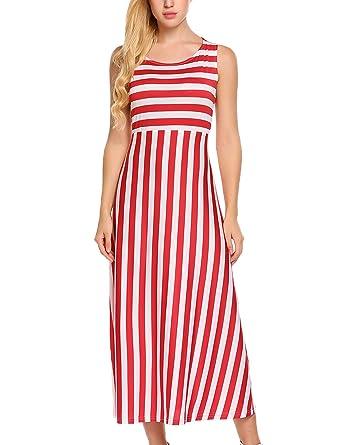 350a5cbb8ee Zeagoo Women s Striped Round Neck Loose Sleeveless Tank Casual Maxi Dress