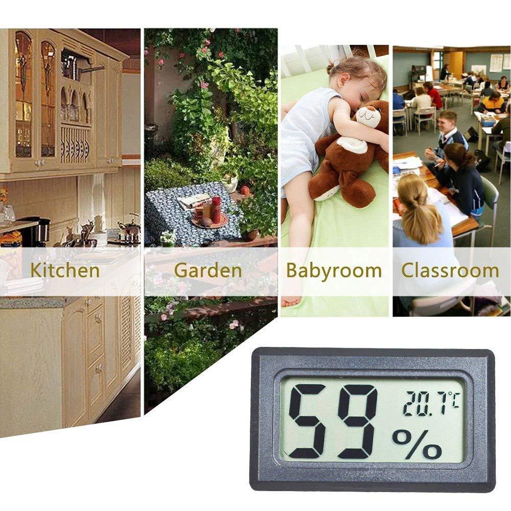 EEEKit 5-Pack LCD Term/ómetro Digital de Temperatura Negro Mini Term/ómetro Digital Higr/ómetro y Medidor de Humedad para Invernadero//Coches//Hogar//Oficina Humedad Term/ómetro